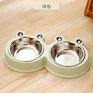 Bát đôi inox tai ếch đựng thức ăn và nước uống cho chó mèo, thiết kế dễ thương thumbnail