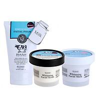 Bộ 3 bước chăm sóc da cơ bản sữa rửa mặt + tẩy tế bào chết + mặt nạ dưỡng da Scentio Milk Plus thumbnail
