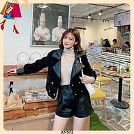 Áo Khoác Nhung Phối Da Cổ Vest Dày Đẹp- Sịn Sò - Sang Chảnh thumbnail