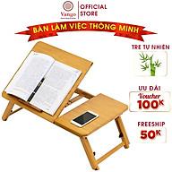 Bàn học, làm việc gấp gọn bằng gỗ tre tự nhiên Vango V1 có kệ để laptop & sách, thiết kế hiện đại, đa năng, sang trọng, sơn phủ bóng chống nước cực tốt thumbnail