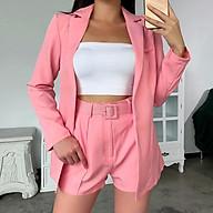 Set 2 món Áo khoác Blazer Vest trơn và quần short kèm thắt lưng thanh lịch thời trang cho Nữ thumbnail