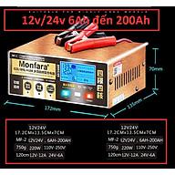 Máy Sạc Ắc quy 12V - 24V 200AH Tự động, Tạo sung khử sunfat - Sạc Bình AGM GEL VRLA CA axit Monfara thumbnail