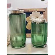 Bình hoa lọ hoa thuỷ tinh màu xanh rêu - màu xám khói cắm hoa trang trí nhà cửa thumbnail