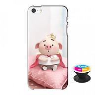 Ốp lưng nhựa dẻo dành cho iPhone 5S tặng popsocket in logo iCase - in hình Heo Con Hoàng Tử thumbnail