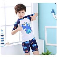 Bộ Đồ Bơi Khủng Long Dành Cho Bé Trai CaoTừ 85cm - 125cm chất vải Polyeste thân thiện với trẻ em, mau khô, thấm hút mồ hôi tốt, thiết kế thời trang bắt mắt - Tặng kèm nón bơi vải cùng màu thumbnail
