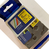 Nhãn in PZe-611 tiêu chuẩn_Khổ 6mm x 8m _Chữ đen nền vàng Tương thích dùng cho máy in nhãn P_Touch Brother thumbnail
