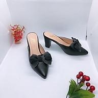 Giày Cao Gót Nữ, Giày Sục Nữ Đế Vuông 7 Phân, Bít Mũi Phối Nơ Lưới Xinh Xắn, Phong Cách Hàn Quốc, Cá Tính YUU-PN 2007 ( Hình Thật) thumbnail