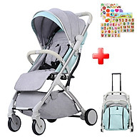 Xe đẩy cho bé, Xe đẩy du lịch gấp gọn dạng vali kéo TR18, Xe đẩy trẻ em đa năng cao cấp - TẶNG KÈM BẢNG NÚM GỖ CHO BÉ CHỦ ĐỀ NGẪU NHIÊN thumbnail