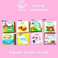 Combo 16 sách vải, sách song ngữ cho bé, phát triển đa giác quan và trí tuệ, 12x12 cm - 8 trang thumbnail