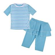 Kids Girls Modest Top Pants Swimwear Striped Swimsuit Protective Muslim Islamic Swimsuit S M L XL thumbnail