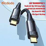 Cáp Sạc Nhanh Truyền Dữ Liệu Usb C To Usb C Mcdodo Thunderbolt 3 PD100W 40Gbps, Xuất Hình Ảnh 4K 5K Ultrahd, Chứng Nhận Bởi Intel (Chiều Dài 0.8M) Hàng Chính Hãng thumbnail