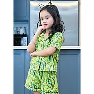 Bộ mặc nhà Pijama bé gái màu cốm hình cái kéo thumbnail