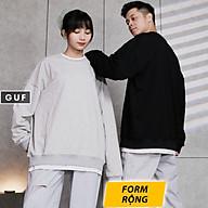 Áo Sweater Nam Nữ Form Rộng Phối Layer 2 Lớp Có Màu Basic Xám, Đen Chất Da Cá Hàn Cao Cấp GUF thumbnail
