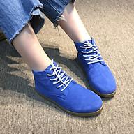 Giày nữ cổ lửng buộc dây đế bằng da lộn màu xanh Mypa thời trang càng đi càng mềm càng đi càng êm chân thumbnail