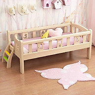 Giường ngủ trẻ em quây 4 mặt có cầu thang, chất liệu gỗ thông dài 2m rộng 1m tặng hộp bút màu nước thumbnail