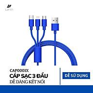 Dây sạc 3 đầu 3 in 1 siêu bền, nhiều cổng sạc USB micro, type C, lightning cho điện thoại Iphone, Samsung Dây cáp sạc điện thoại đa năng - CAP0001 thumbnail