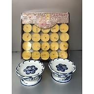Nến bơ sạch 100 viên ( tặng kèm 2 đế nến sứ xanh đk7 cm cao 4 cm ) - TL271 thumbnail