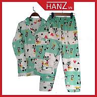 Bộ ngủ pijama lụa kate thái áo dài quần dài bộ mặc nhà Hanz.vn mềm mại dễ thương H1 Xanh Micky thumbnail
