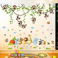 Combo 2 decal dán tường khỉ đu dây và động vật đoàn kết + Tặng stick bất kì thumbnail