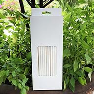 Hộp 100 ống hút giấy kích thước 197x6mm màu trắng thân thiện môi trường dùng cho mọi loại nước thumbnail