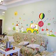 Decal dán tường cho bé cảnh thỏ lái xe ôtô dạo phố vui nhộn thumbnail