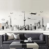 Decal dán tường chất liệu PVC loại 1 dày dặn, sắc nét, không phai, trang trí quán cafe, phòng khách- thành phố tháp nhọn- mã sp XC90012 thumbnail