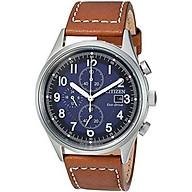 Citizen Men s Eco-Drive Stainless Steel Quartz Leather Calfskin Strap, Brown Casual Watch (Model CA0621-05L) thumbnail