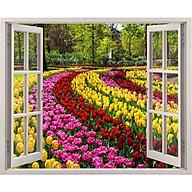 Tranh dán tường 3d ép lạu kim sa có sẵn keo cửa sổ tulip sắc màu CS89 thumbnail