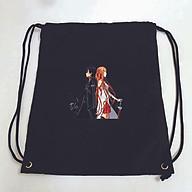 Balo dây rút đen in hình SWORD ART ONLINE anime chibi Đao Kiếm Thần Vực túi rút đi học xinh xắn thời trang thumbnail