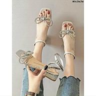 Sandal da bóng quai mica nơ đá xoắn to gót nhũ - 3P thumbnail