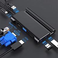 ROGTZ HUB Kiêm Dock USB-C qua Type-C HDMI VGA LAN 3 Cổng USB 3.0 Hỗ Trợ Power Delivery- Hàng Chính Hãng thumbnail