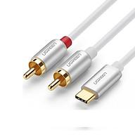 Cáp USB TYPE C đầu mạ vàng ra 2RCA audio Auxiliary stereo Y splitter màu trắng Ugreen - Hàng chính hãng thumbnail