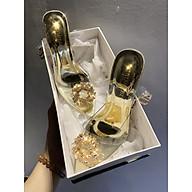 Giày cao gót trong suốt đính đá hoa vàng bít mũi LẤY LÊN 1 SIZE- Giày đi tiệc-Giày công chúa- thumbnail