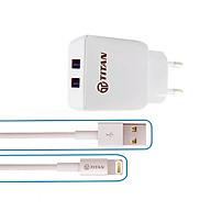 Bộ cốc sạc nhanh 2 cổng USB và cáp sạc IPhone TITAN SL11 - Hàng Chính Hãng thumbnail