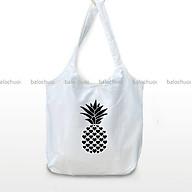 Túi vải canvas đeo vai tiện ích đi học, đi du lịch in hình - Trái khóm đen thumbnail