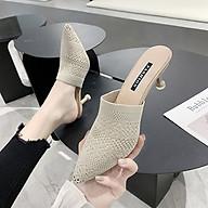 Giày cao gót 7 phân vải dệt, mũi nhọn hở gót, dễ phối, sang trọng ( TẶNG BỘ 6 CON BƯỚM DẠ QUANG PHÁT SÁNG NGẪU NHIÊN ) thumbnail