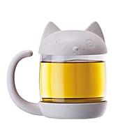 Ly thủy tinh pha trà có nắp hình mèo thumbnail