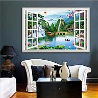 Tranh dán tường cửa sổ 3D trang trí phòng khách, phòng ngủ, phòng ăn SƠN THỦY HỮU TÌNH đã có sẵn keo dán 1713L11 thumbnail