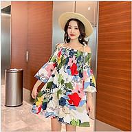 Váy bầu hè thu hở vai họa tiết hoa độc đáo DR2584 thumbnail