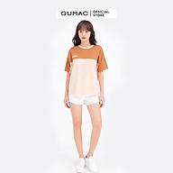 Áo thun nữ in chữ phối đô GUMAC AMB628 thumbnail