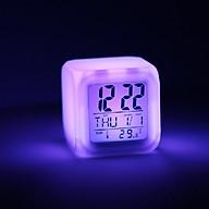 Đồng hồ để bàn hình lập phương, tự thay đổi màu sắc - Tặng kèm móc dán tường (giao màu ngẫu nhiên) thumbnail