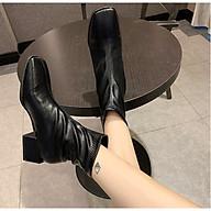 Giày Boots Nữ Cổ Ngắn Đế Vuông 5cm Da PU Mã H88 thumbnail