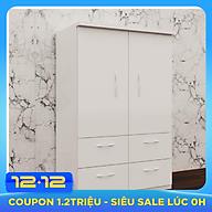 Tủ nhựa đài loan 2 cánh 4 ngăn kéo màu trắng - V247 thumbnail