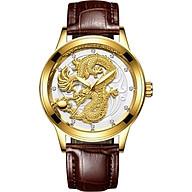 Đồng hồ nam dây da mặt chạm Rồng Vàng nổi 3D thumbnail