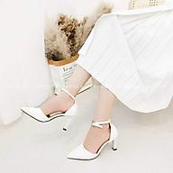 Giày Bít Mũi, Bít Gót Nữ Có Quai Hậu Gót Vuông Nhỏ 7cm Chắc Chắn thumbnail