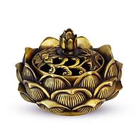 Lư xông trầm hương kiểu hoa sen bằng đồng thau phong thủy Tâm Thành Phát thumbnail