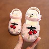 Giày Tập Đi Dép Sandal Cho Bé Siêu Mềm, Siêu Xinh Với 2 Tông Màu Trắng Kem Và Hồng Phấn. thumbnail