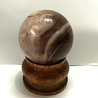 Cầu bi phong thủy đá tự nhiên hồng cho người mệnh Thổ và Hỏa đá tự nhiên đường kính 5 cm có chân đế gỗ siêu rẻ HONG5cm thumbnail