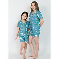 Đồ bộ pijama mẹ và bé màu xanh nhiều con thú thumbnail