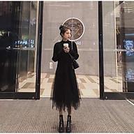 Chân váy lưới thiết kế tua nhọn dáng dài thumbnail